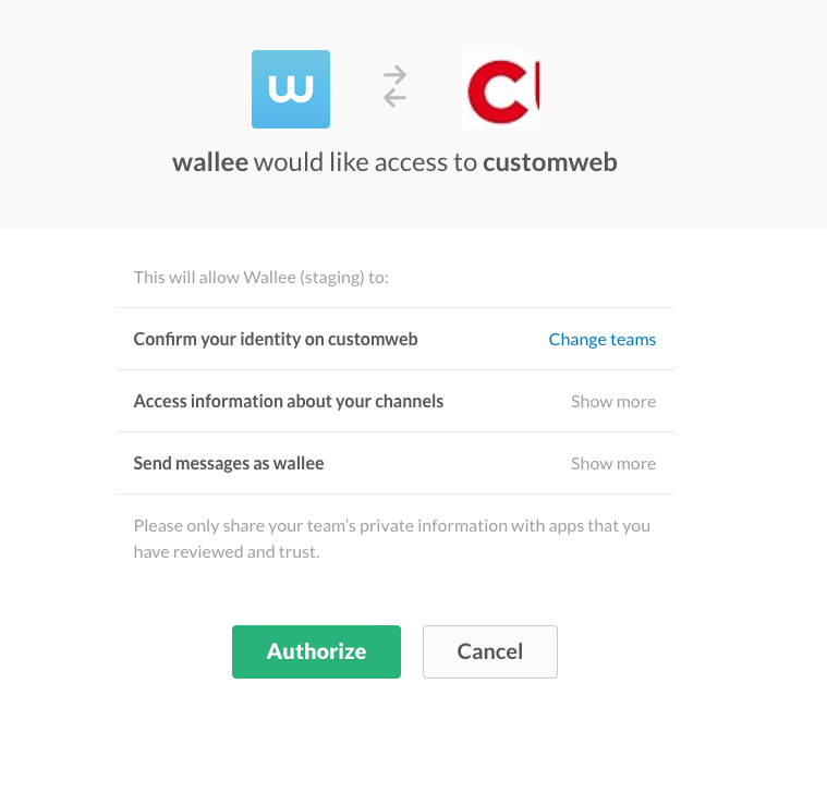 Grant wallee access to Slack